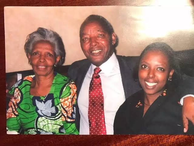 Former Minister John Michuki and his wife and daughter.