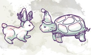 Rabbit & Turtle – Christmas Card Illustrations