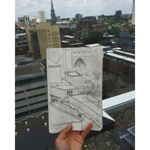 Today's Office and Perspective and Value Study – St Denis Rooftops