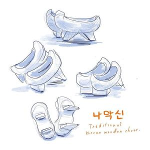 Drawing: Traditional Korean Wooden Clogs 나막신