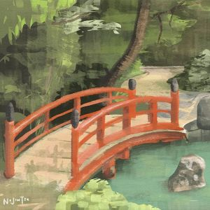 Japanese Garden Bridge Painting