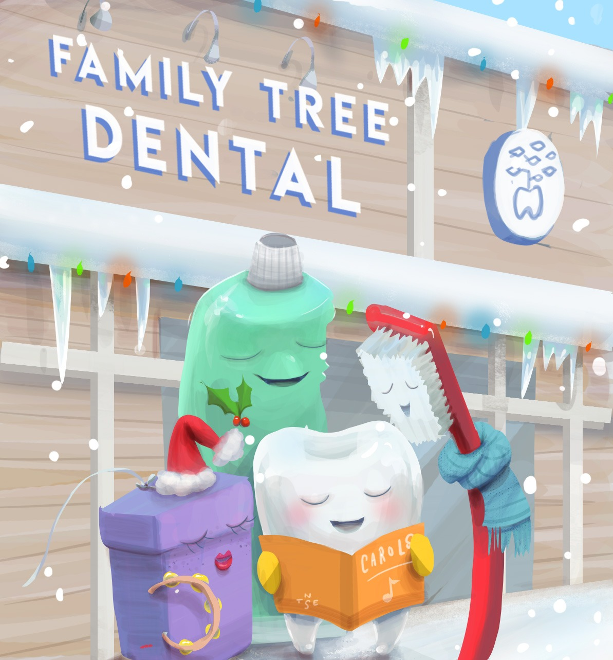 Illustration: Family Tree Dental Christmas Postcard + Timelapse Video