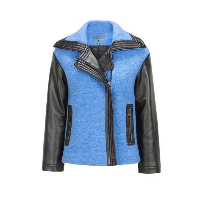 CARAMELO Cazadora biker piel negra y lana azulona 189€