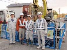 左から中山社長、大栄建設 濱師さん、 砥石さん、船木所長