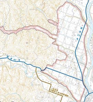 新十津川町大和地区 赤線の内側に施工地があります