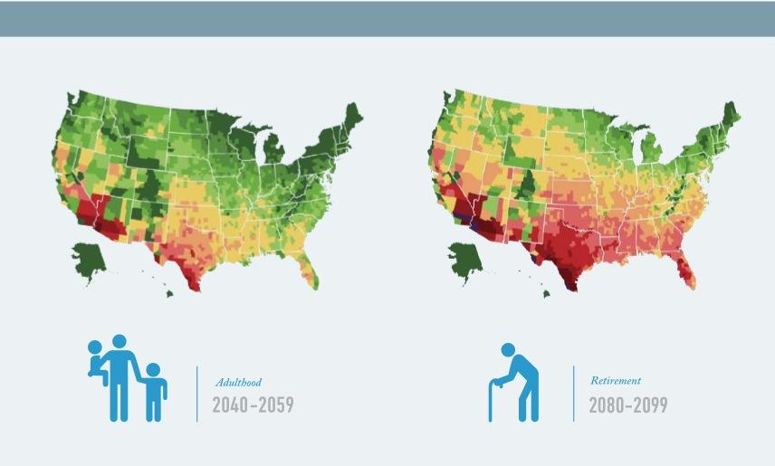US Map of 95 Degree Days, 2040-2059 v. 2080- 2099