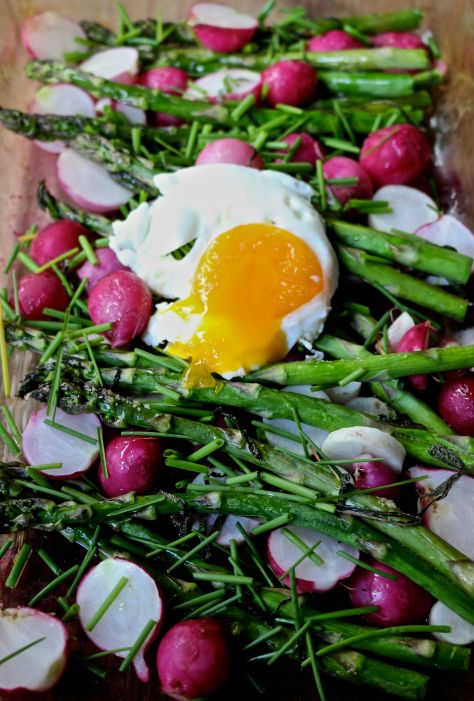 roasted radishes & asparagus