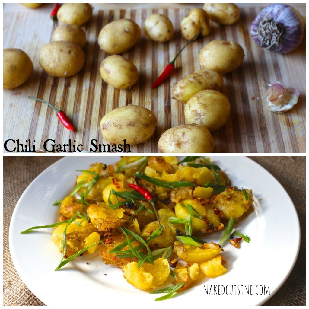 chili garlic smashed potatoes