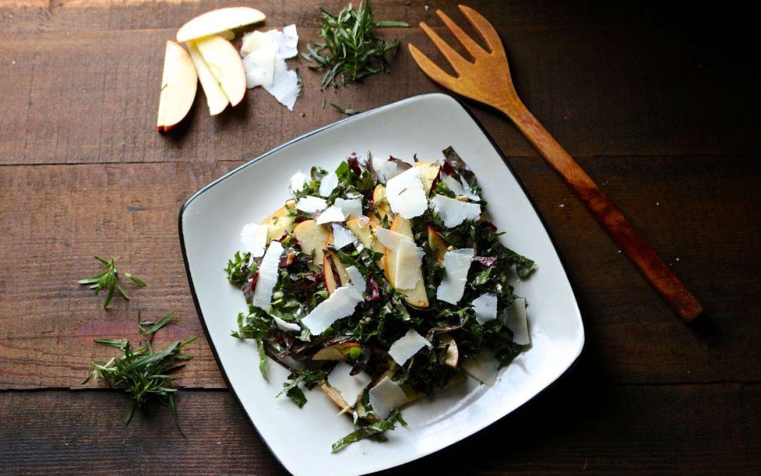 Apple Kale Salad with Tarragon Mustard Vinaigrette