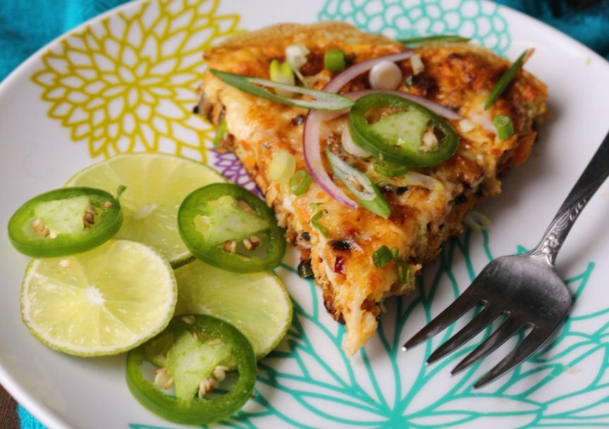Jalapeno Chicken Breakfast Pizza with Sweet Potato Crust