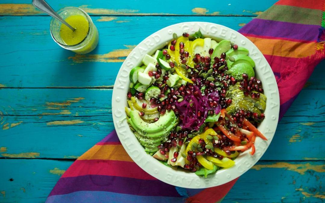 Rainbow Superfood Salad with Lemon Basil Dressing