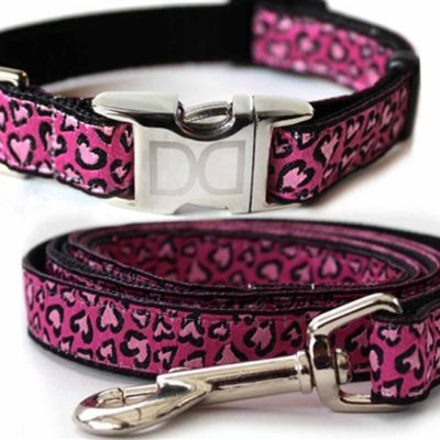 Cheetah Pink Collar & Leash Set