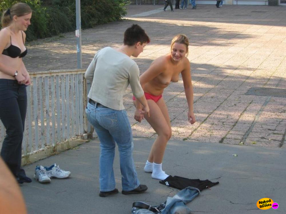 stripped public girl naked in