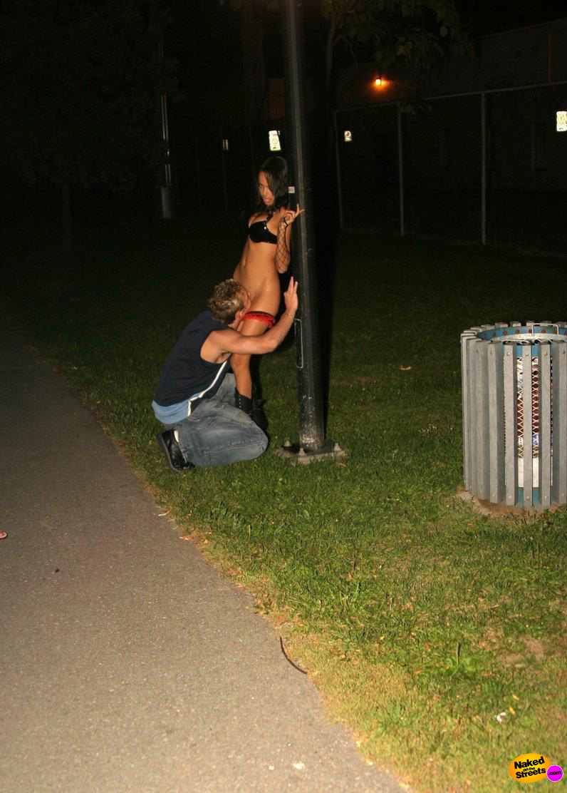 Hot kinky slut gets her pussy eaten in the park at night