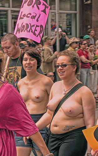 pair of naked lesbian protesters