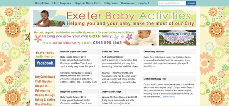 Exeter Baby Activities - a Wordpress Site