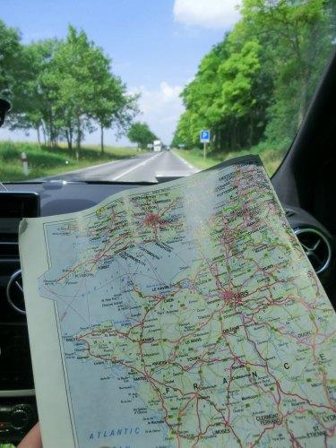 Landkarte zur Autofahrt