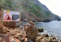 Erdrutsch Gefahr am Ufer von Valldemossa Port