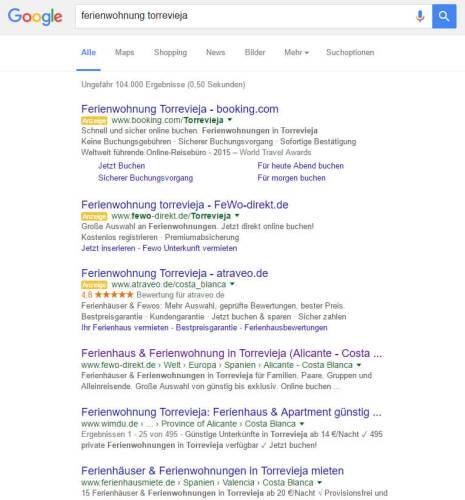 Google Adwords für FeWo Torrevieja