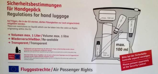 Sicherheitsbestimmungen für Handgepäck am Flughafen Bremen