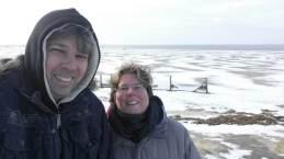 Spazieren am Eisstrand der Nordsee