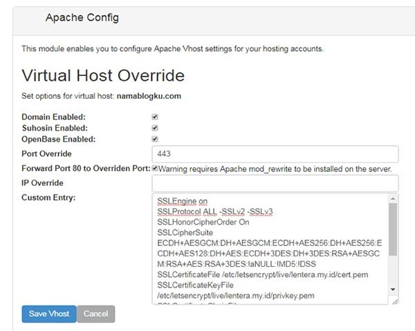 Override a Virtual Host Setting