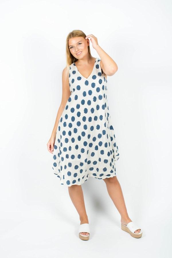 Amelia Dress Spot Navy
