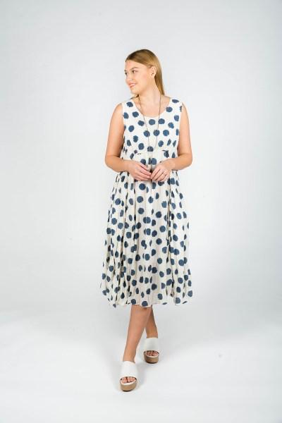 Emily Dress Spot Navy