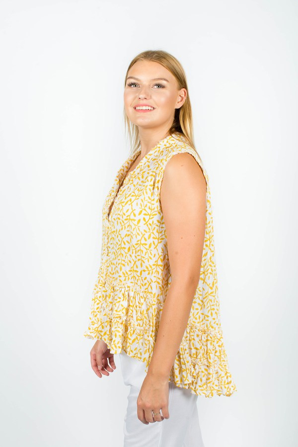 Mia Top Fleur Mustard