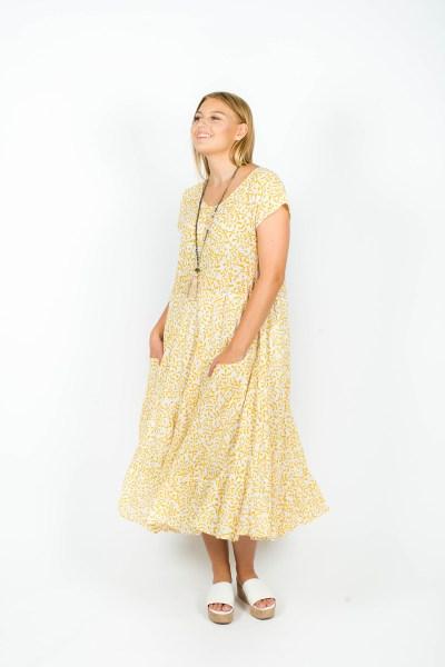 Sophia Dress Fleur Mustard