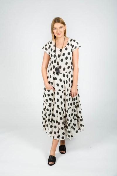 Sophia Dress Spot Steel