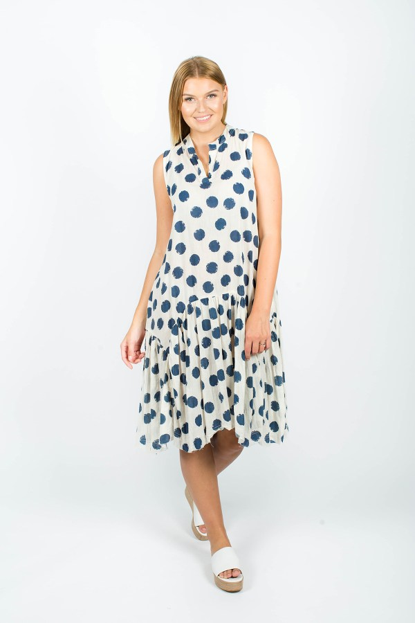 Ella Dress Spot Navy