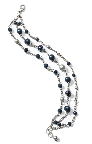 3-strand chain bracelet with beads & crystals > Sale