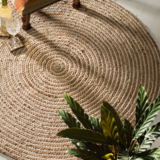 Extra Large Round Natural Braided Rug Jute Amp Cotton 120cm Gt Jute Rugs Gt Rugs Gt Home Furnishings