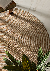 Braided Round Jute  Cotton Natural Rugs  Home