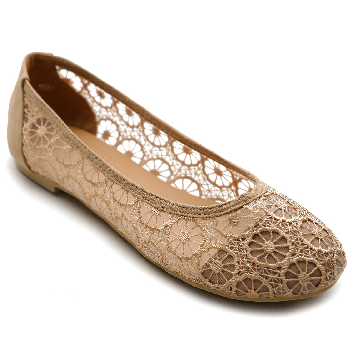 Ollio Womens Floral Lace Ballet Flats Loafers Low Heels