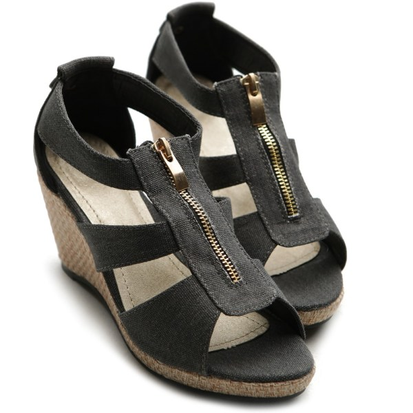 Wedge Sandals with Zipper Front