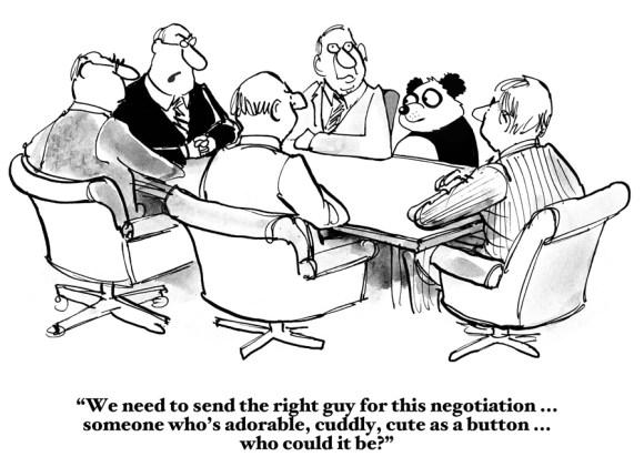 panda at negotiation table