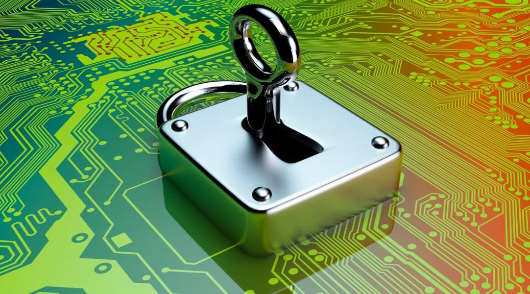 lock and key on circuit board