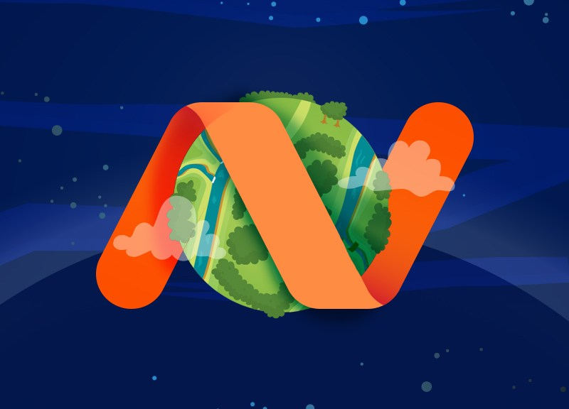 Earth wrapped with Namecheap logo