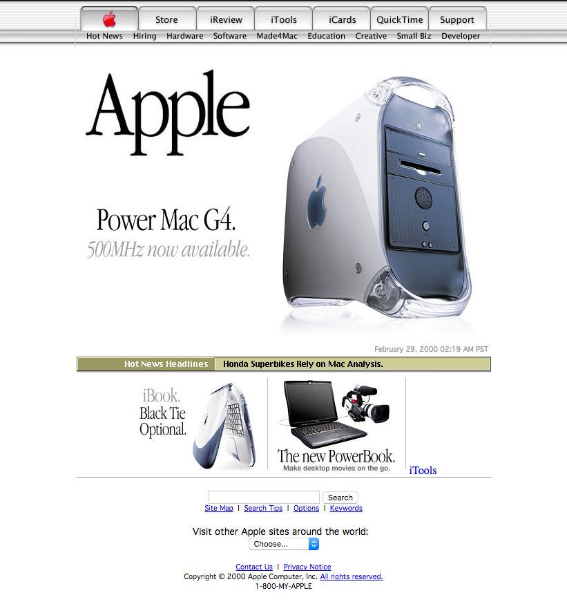 snapshot of apple.com in 2000