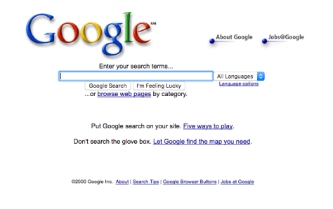 Snapshot of Google in 2000