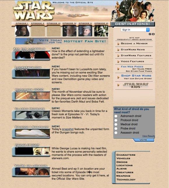 snapshot of starwars.com in 2000