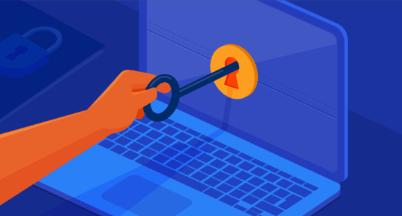 key unlocking lock on laptop