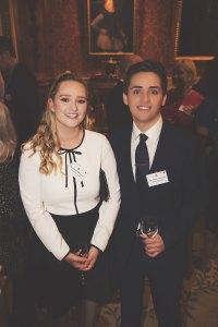 Samuel Carvalho and his partner Ashleigh Bainbridge at Buckingham Palace