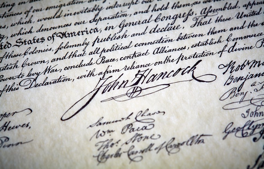 John Hancock's signature on Declaration of Independence