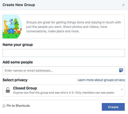 Screenshot of Facebook groups setup
