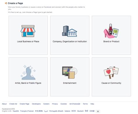 screenshot of Facebook page setup
