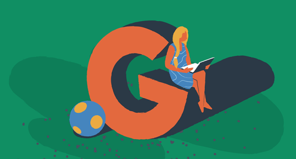 Woman sitting on a letter G