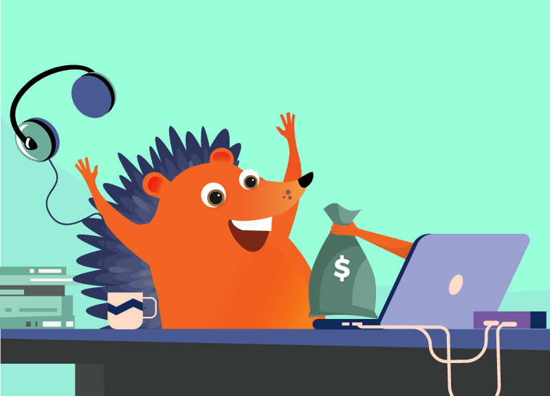 hedgehog celebrating getting paid